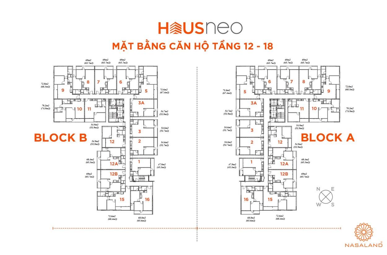 Mặt bằng căn hộ tầng 12-18 dự án căn hộ Hausneo Quận 9