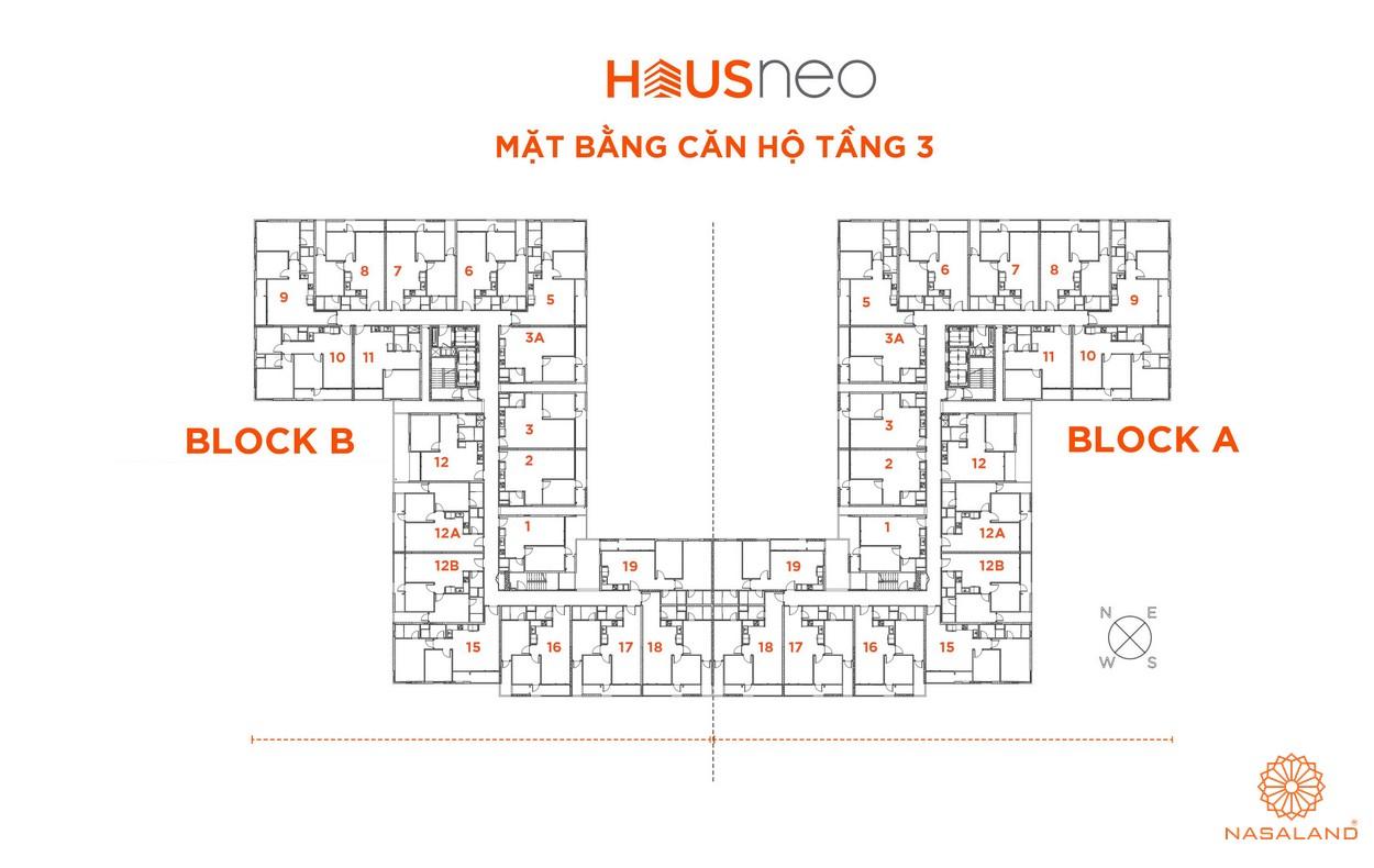 Mặt bằng căn hộ tầng 3 dự án căn hộ Hausneo Quận 9
