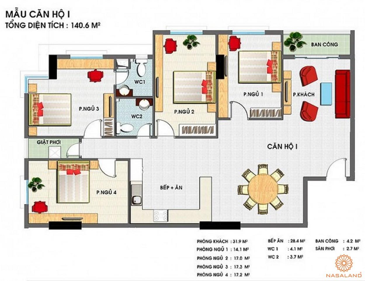 Mặt bằng mẫu căn hộ dự án căn hộ Cherry Apartment