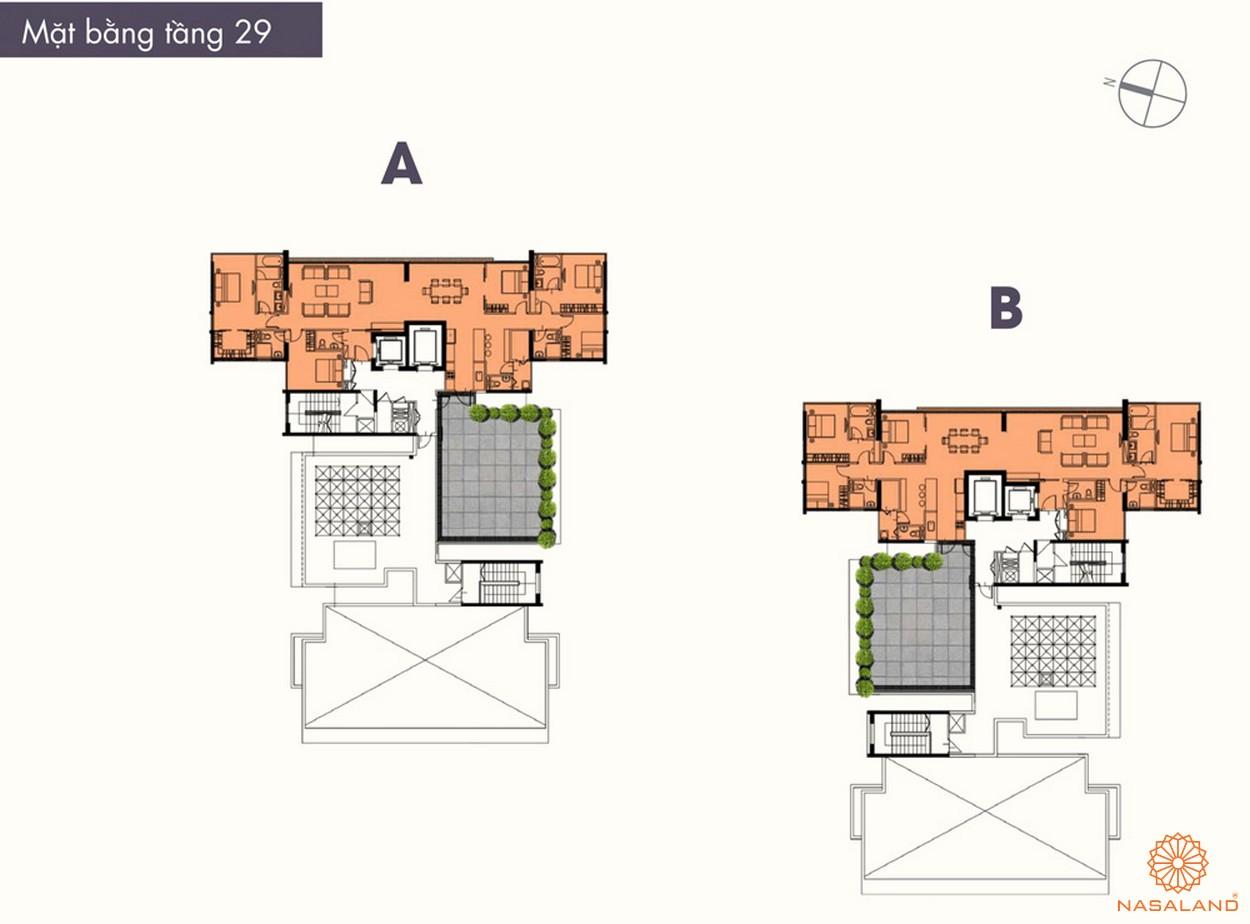 Mặt bằng điển hình tầng 29 của dự án The Ascent Quận 2