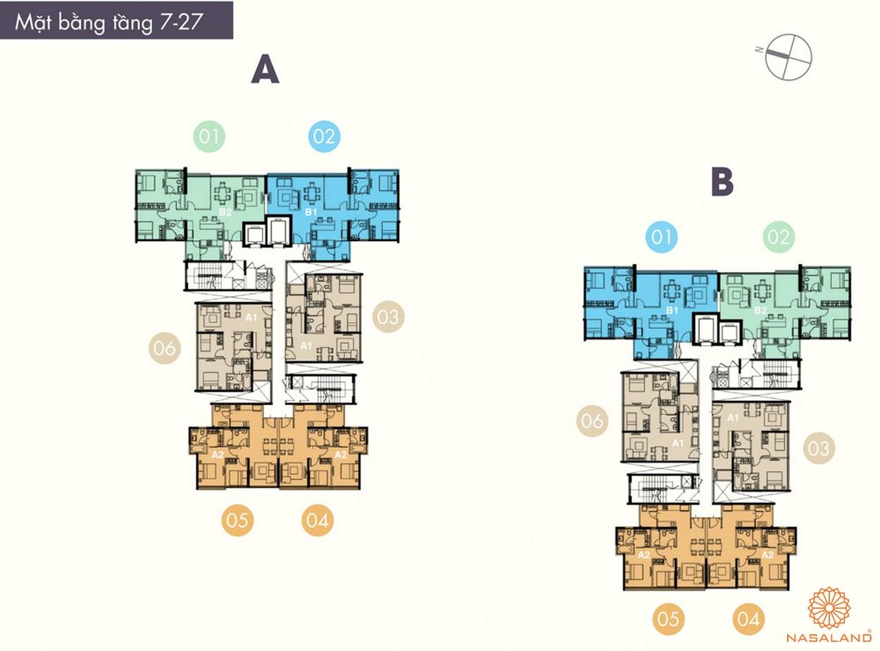 Mặt bằng điển hình tầng 7- 27 của dự án The ascent Quận 2