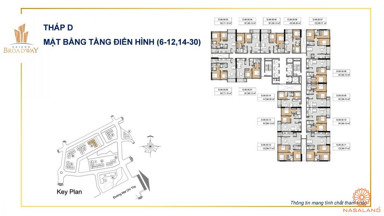 Mặt bằng điển hình căn hộ Sài Gòn BroadWay