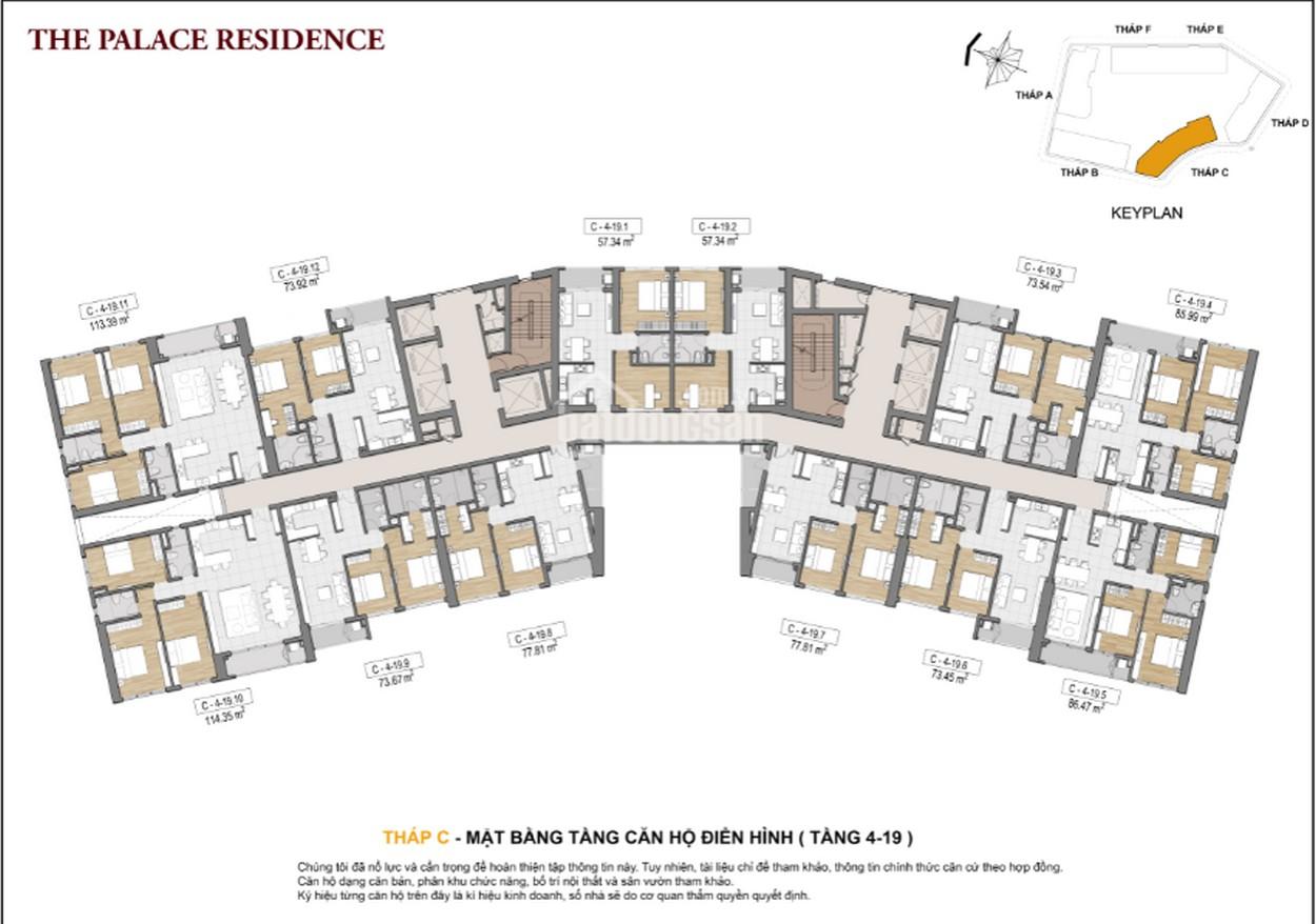 Mặt bằng căn hộ chung cư The Palace Residence Quận 2 Đường chủ đầu tư Novaland
