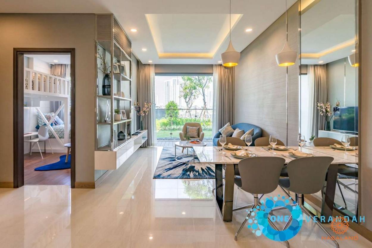 aNhà mẫu phòng khách và bàn ăn căn hộ One Verdandah