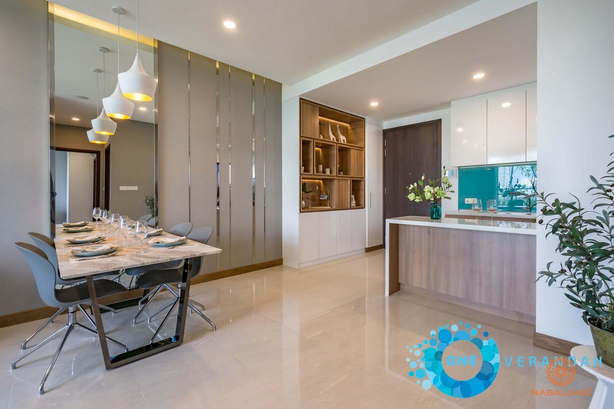 Nhà mẫu bàn ăn và bếp của căn hộ One Verandah