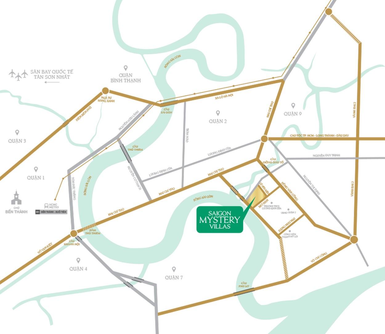 Vị trí tổng thể dự án Sài Gòn Mystery Villa