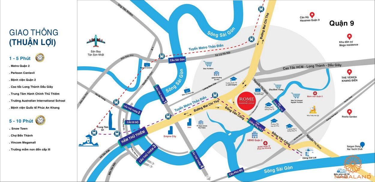 Vị trí địa chỉ dự án căn hộ Rome Diamond Lotus Quận 2 đường