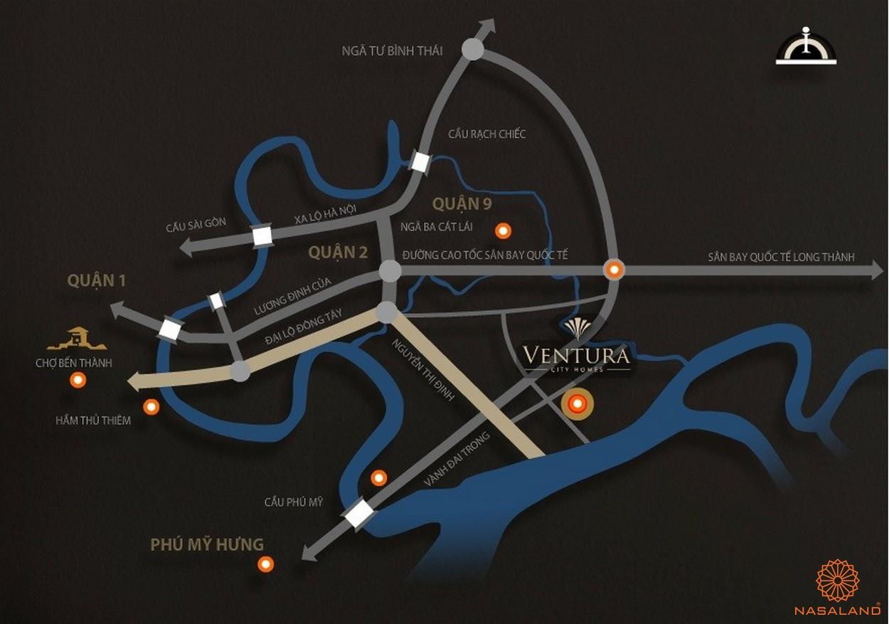 Vị trí địa chỉ biệt thự của dự án Ventura Quận 2 thành phố Hồ Chí Minh