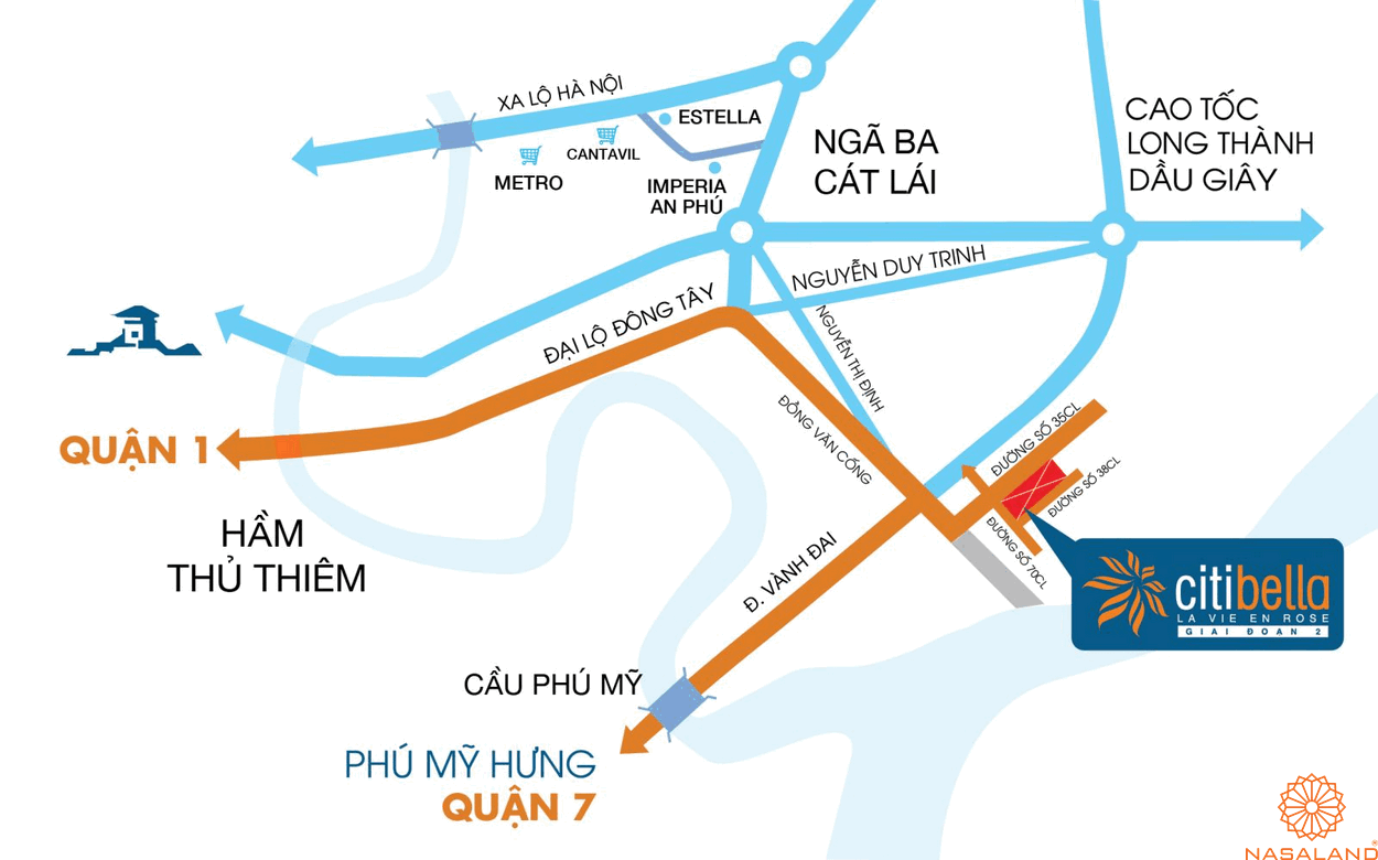 Vị trí địa chỉ dự án căn hộ CitiBella 1 Quận 2