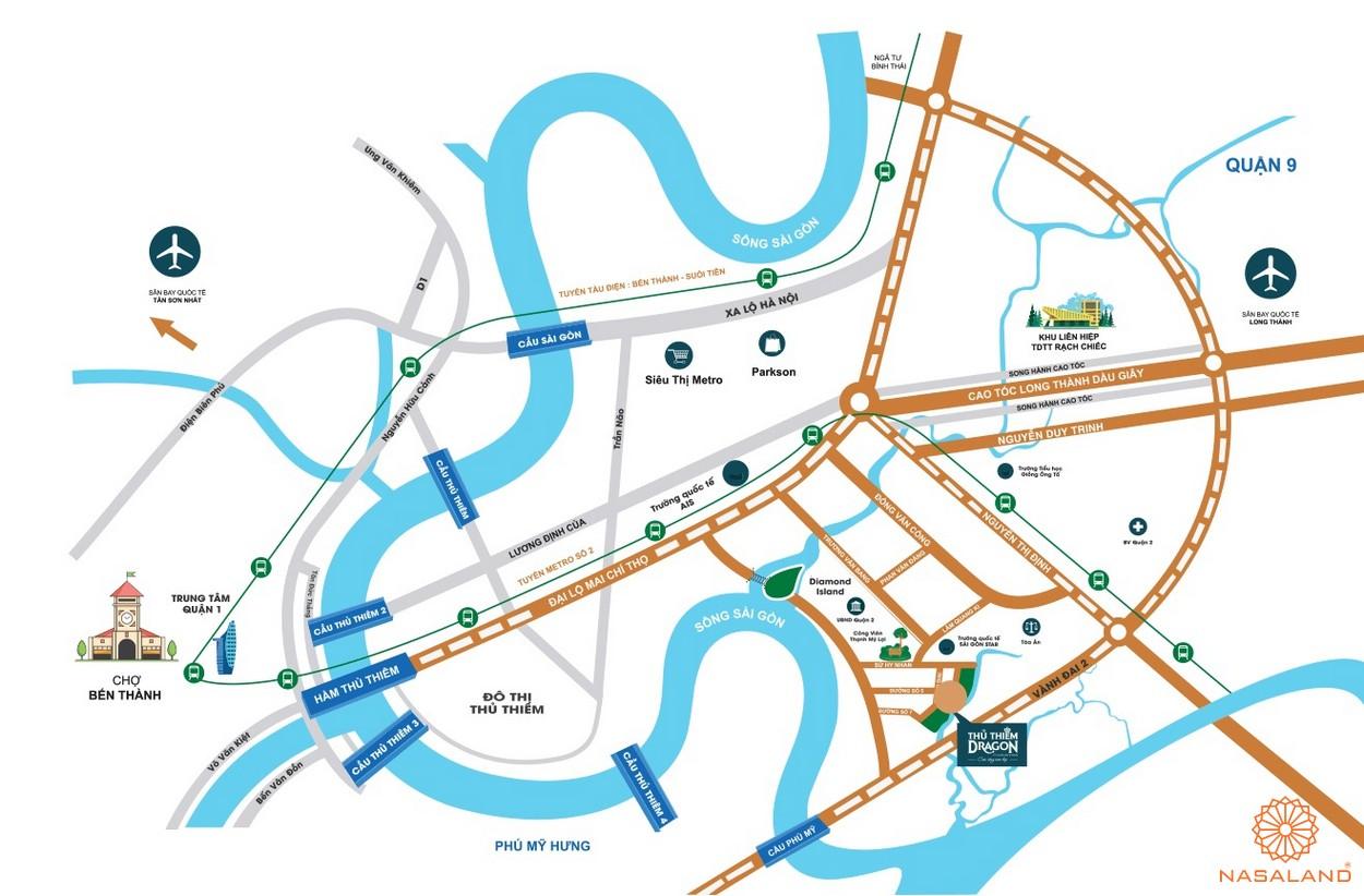 Vị trí địa chỉ dự án căn hộ Thủ Thiêm Dragon Quận 2