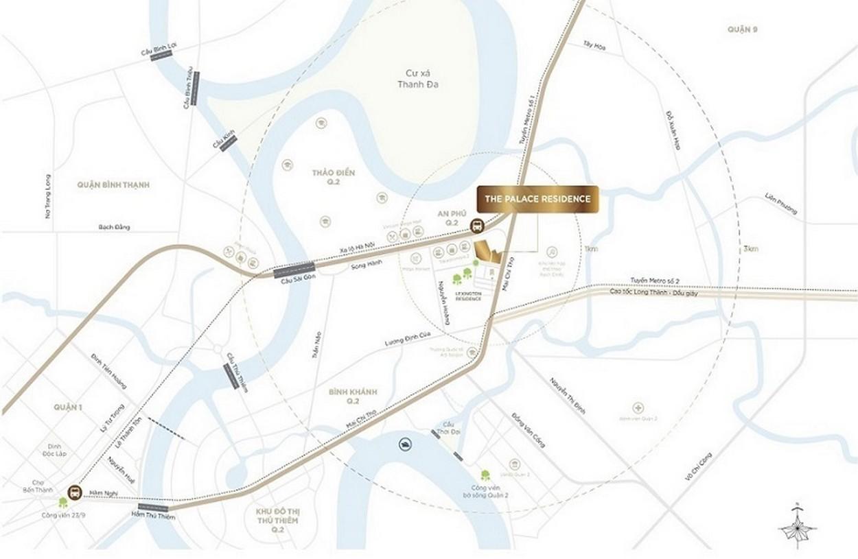 Vị trí địa chỉ căn hộ chung cư The Palace Residence Quận 2 Đường chủ đầu tư Novaland