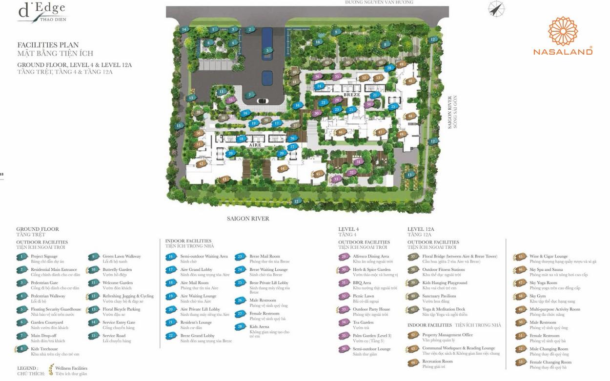 Mặt bằng tiện ích phân bố tại dự án căn hộ D'Edge Quận 2