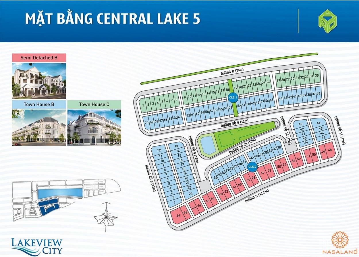Mặt bằng Central Lake 5 của dự án Lakeview City quận 2