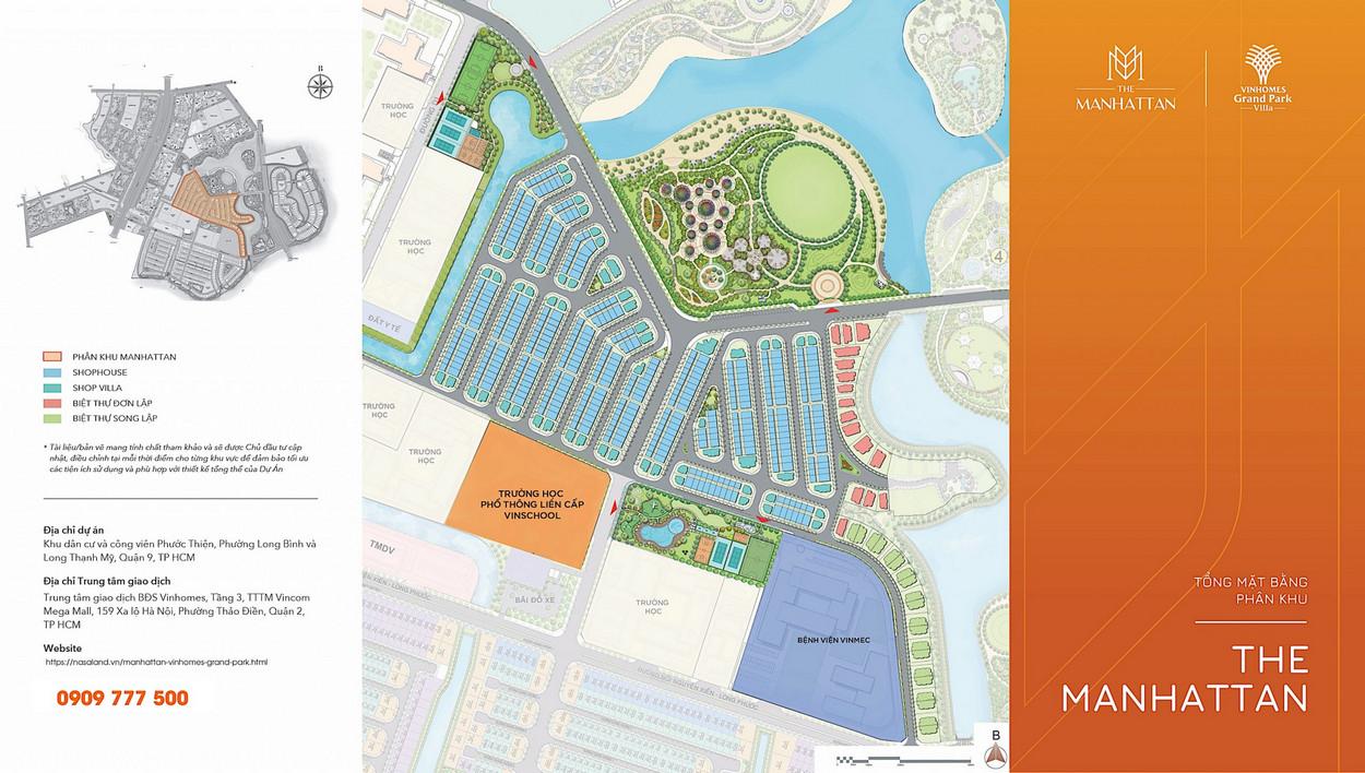 Mặt bằng vị trí phân khu nhà phố The Manhattan dự án Vinhomes Grand Park