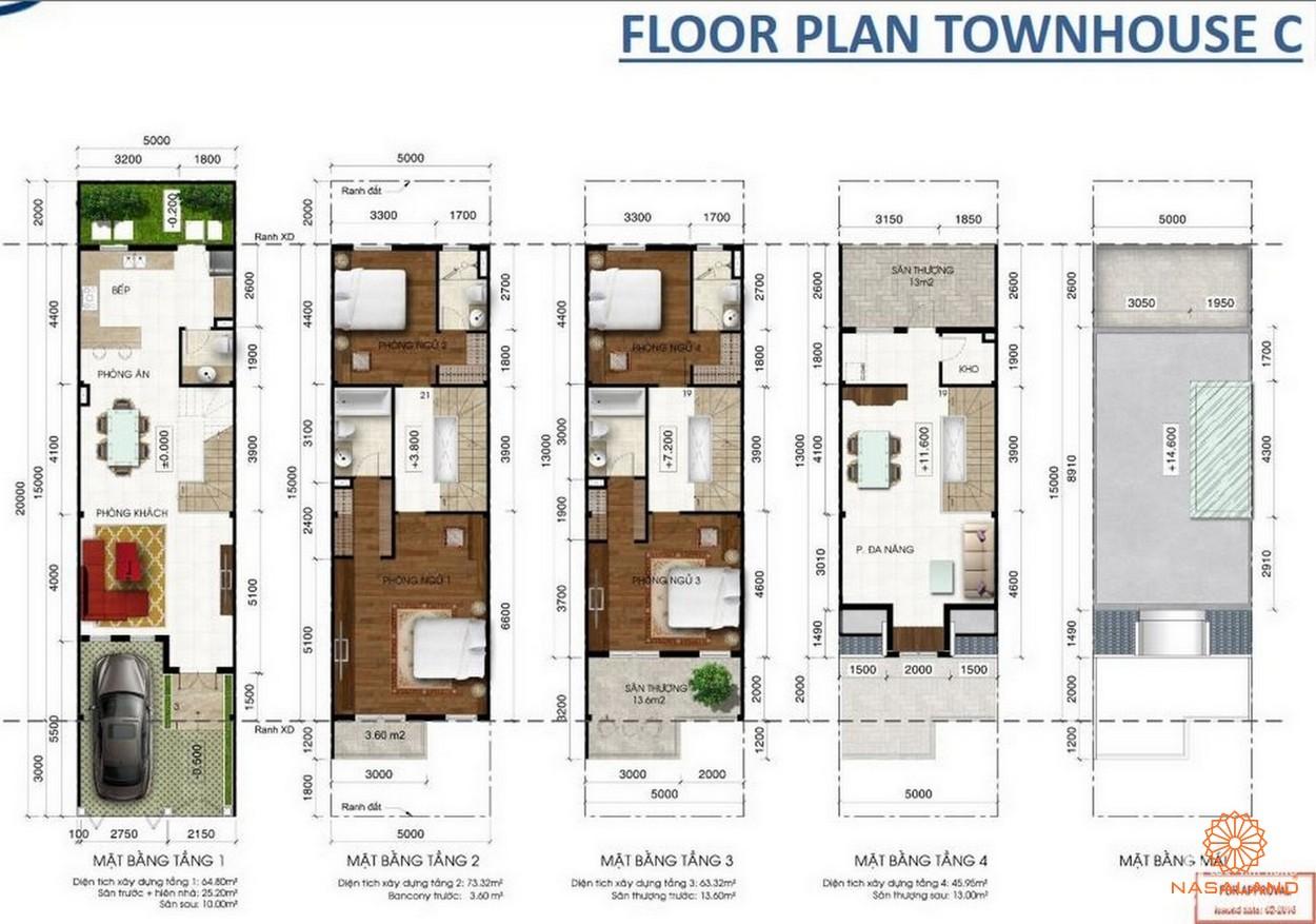 KĐT Lakeview Novaland quận 2 - thiết kế nhà phố liền kế