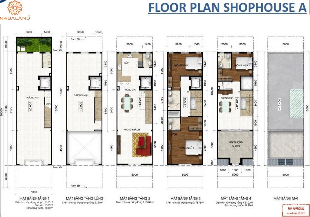Thiết kế căn hộ Floor Plan Shophouse A bên trong dự án