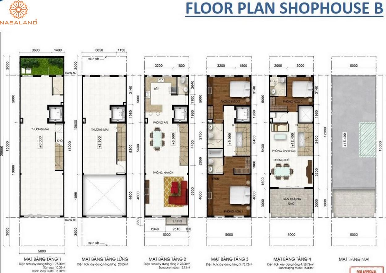 Thiết kế căn hộ Floor Plan Shophouse B tại dự án Lakeview City quận 2