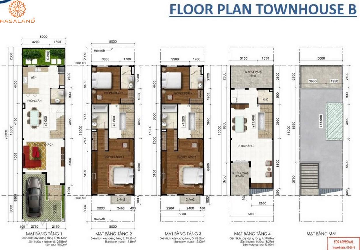 Thiết kế căn hộ Floor Plan Townhouse B tại dự án Lakeview City quận 2