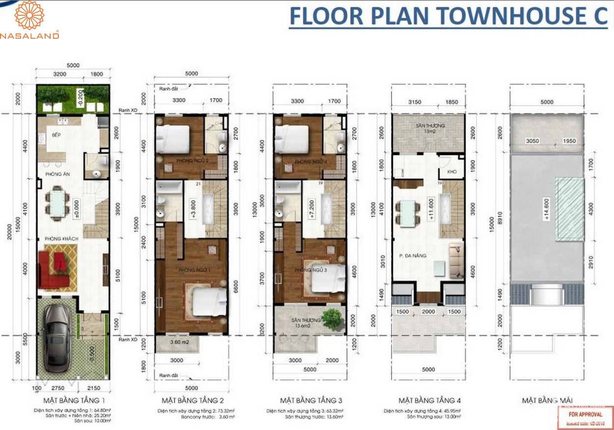 Thiết kế căn hộ Floor Plan Townhouse C tại dự án Lakeview City quận 2