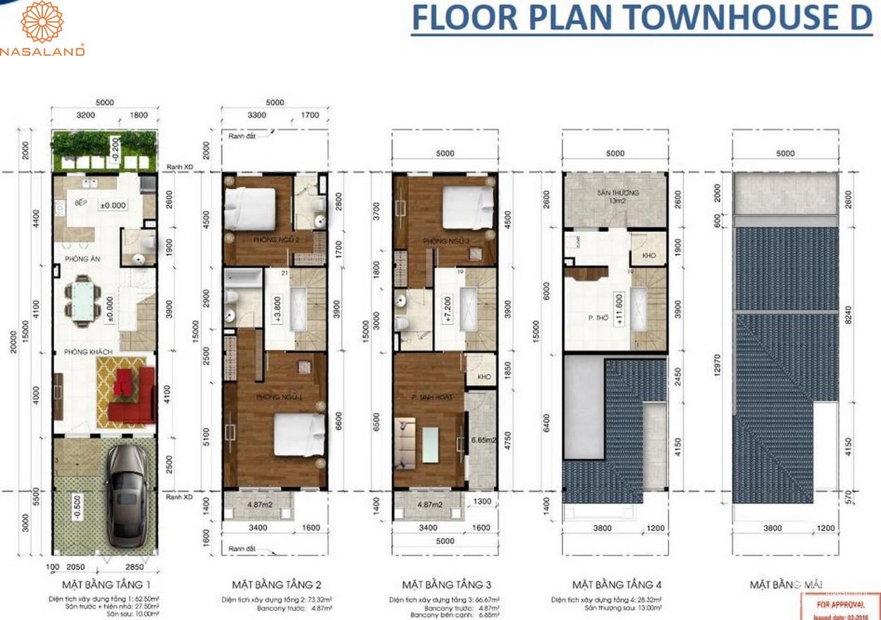 Thiết kế căn hộ Floor Plan Townhouse D tại dự án Lakeview City quận 2