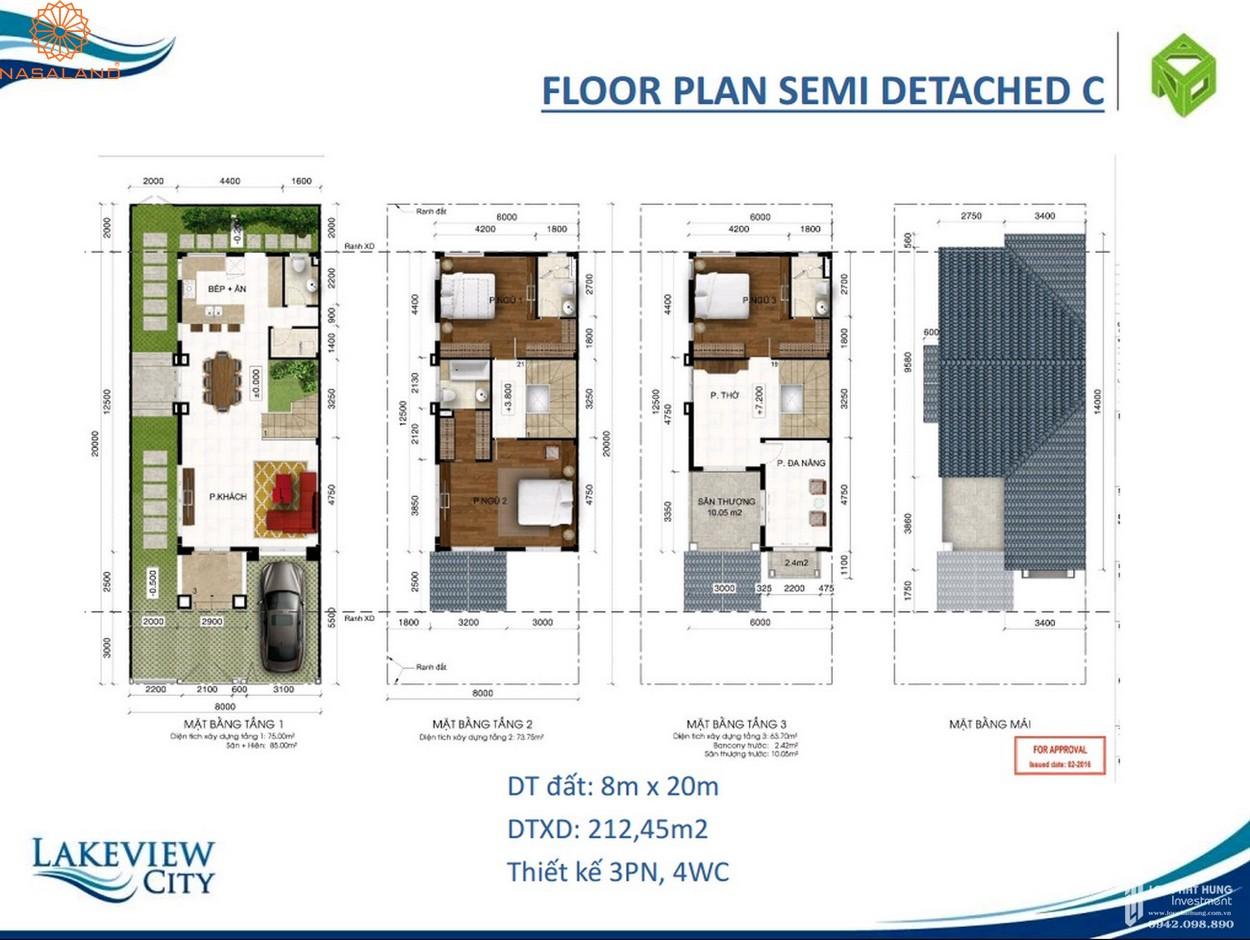 Thiết kế căn hộ Floor Plan Semi Detached C tại dự án Lakeview City quận 2