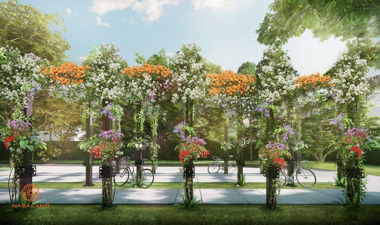 Khu vực đạp xe quanh khuôn viên tầng trệt tại dự án căn hộ D'Edge Quận 2