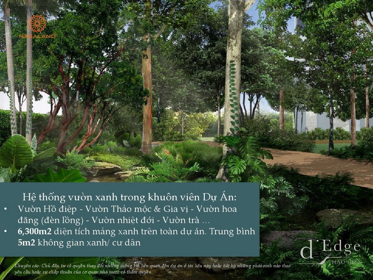 Hệ thống vườn xanh trong khuôn viên tại dự án căn hộ D'Edge Quận 2