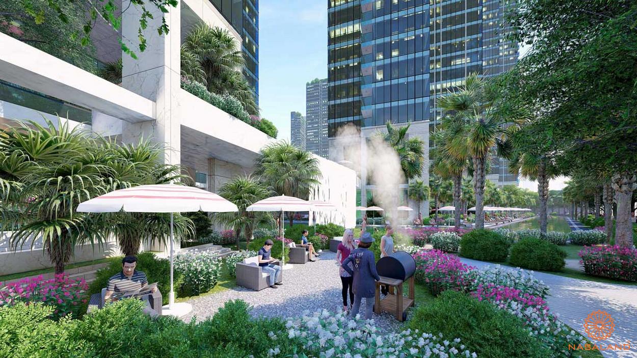 Tiện ích vườn dạo bộ nội khu căn hộ Marina Park