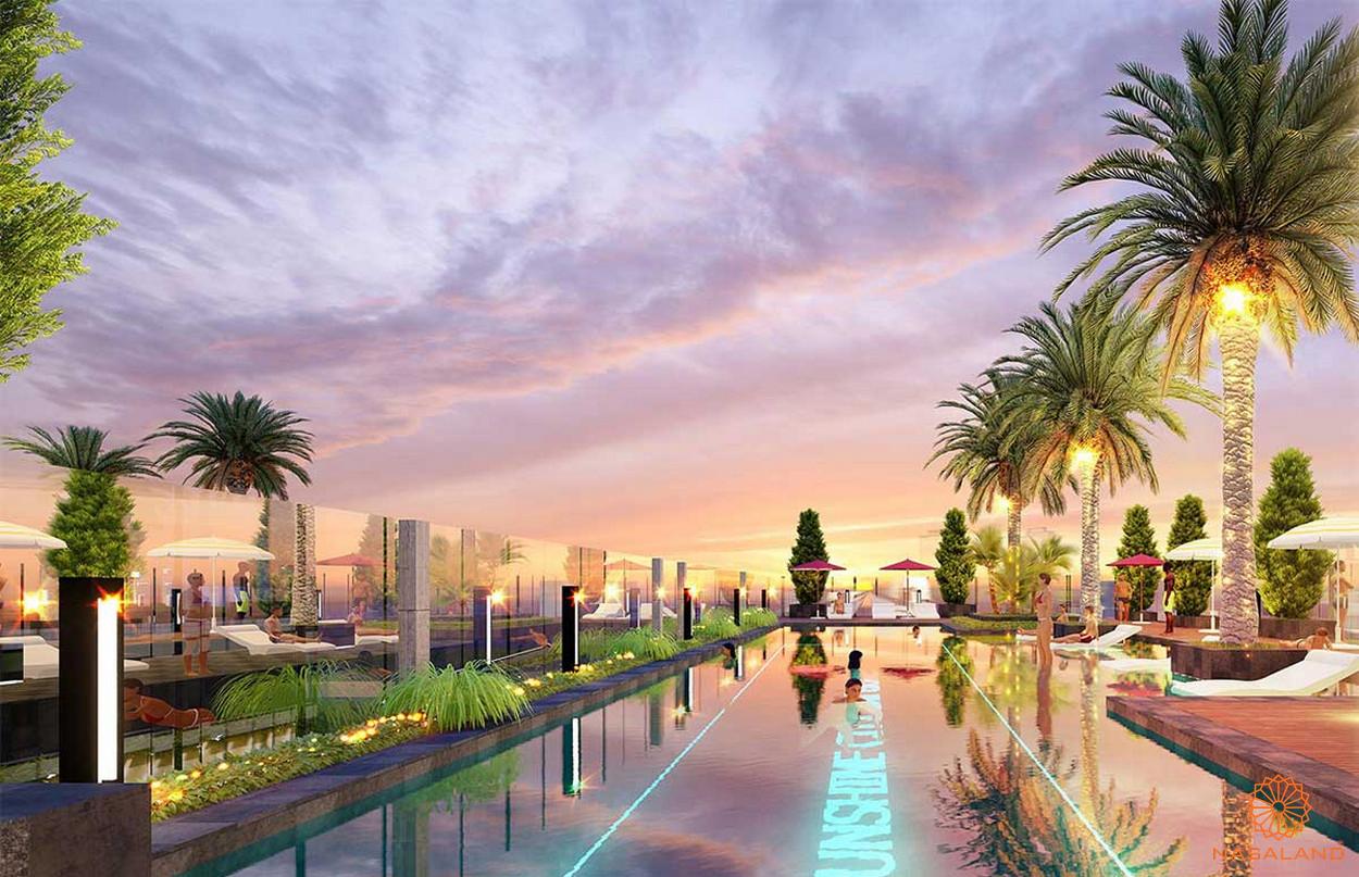 Hồ bơi tràn bờ nội khu căn hộ Marina Park