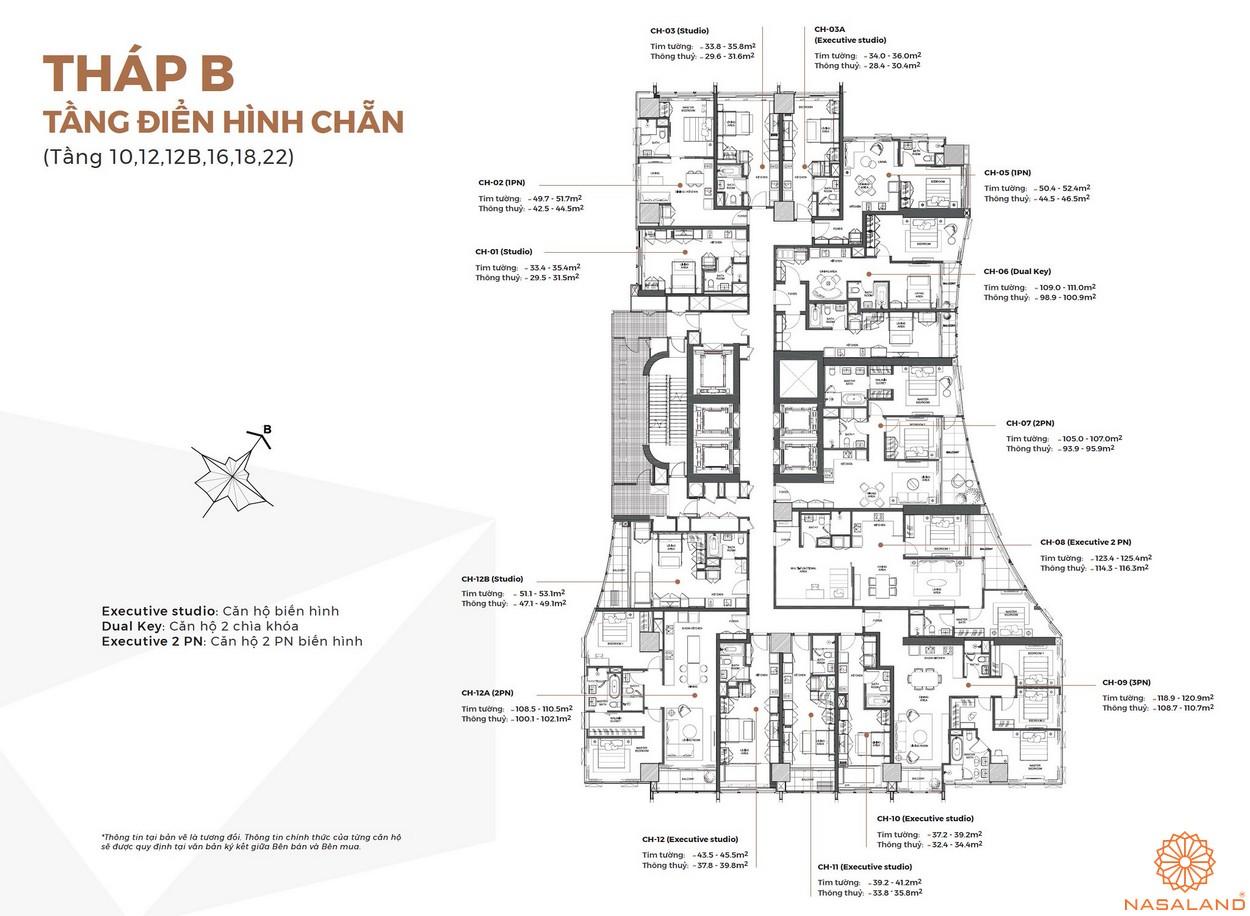 Mặt bằng tháp B tầng điển hình chẵn của dự án Alpha City
