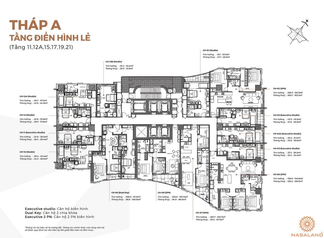 Mặt bằng tháp A tầng điển hình lẻ của dự án Alpha City