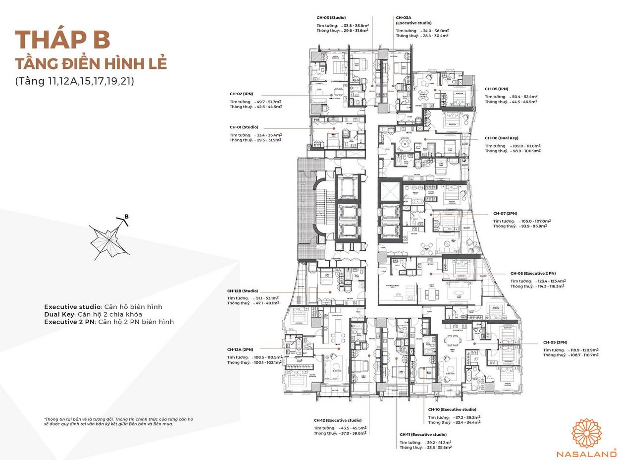 Mặt bằng tháp B tầng điển hình lẻ của dự án Alpha City