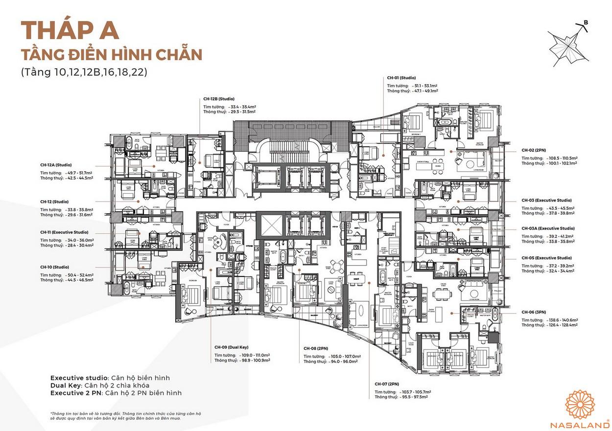 Mặt bằng tháp A tầng điển hình chẵn căn hộ Alpha City