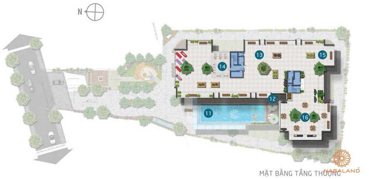 Mặt bằng tầng sân thượng của dự án Asiana quận 6