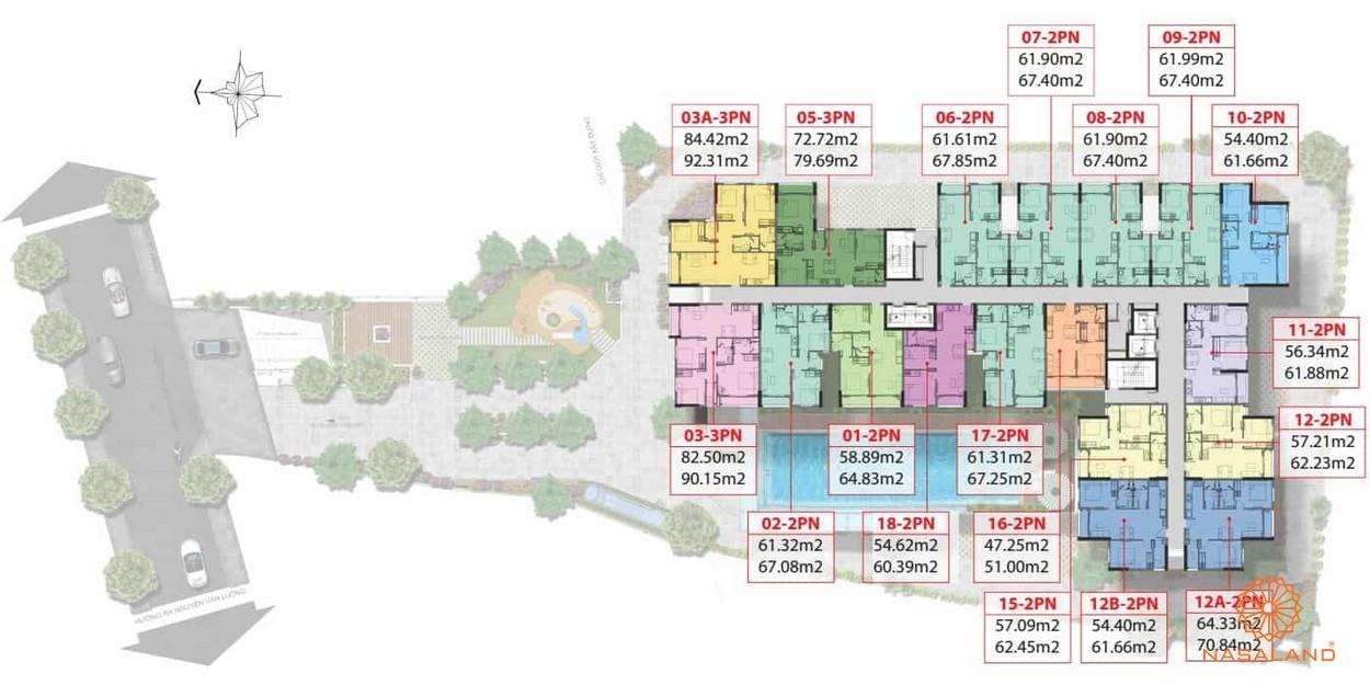aMặt bằng tầng 1-15 của dự án căn hộ Asiana