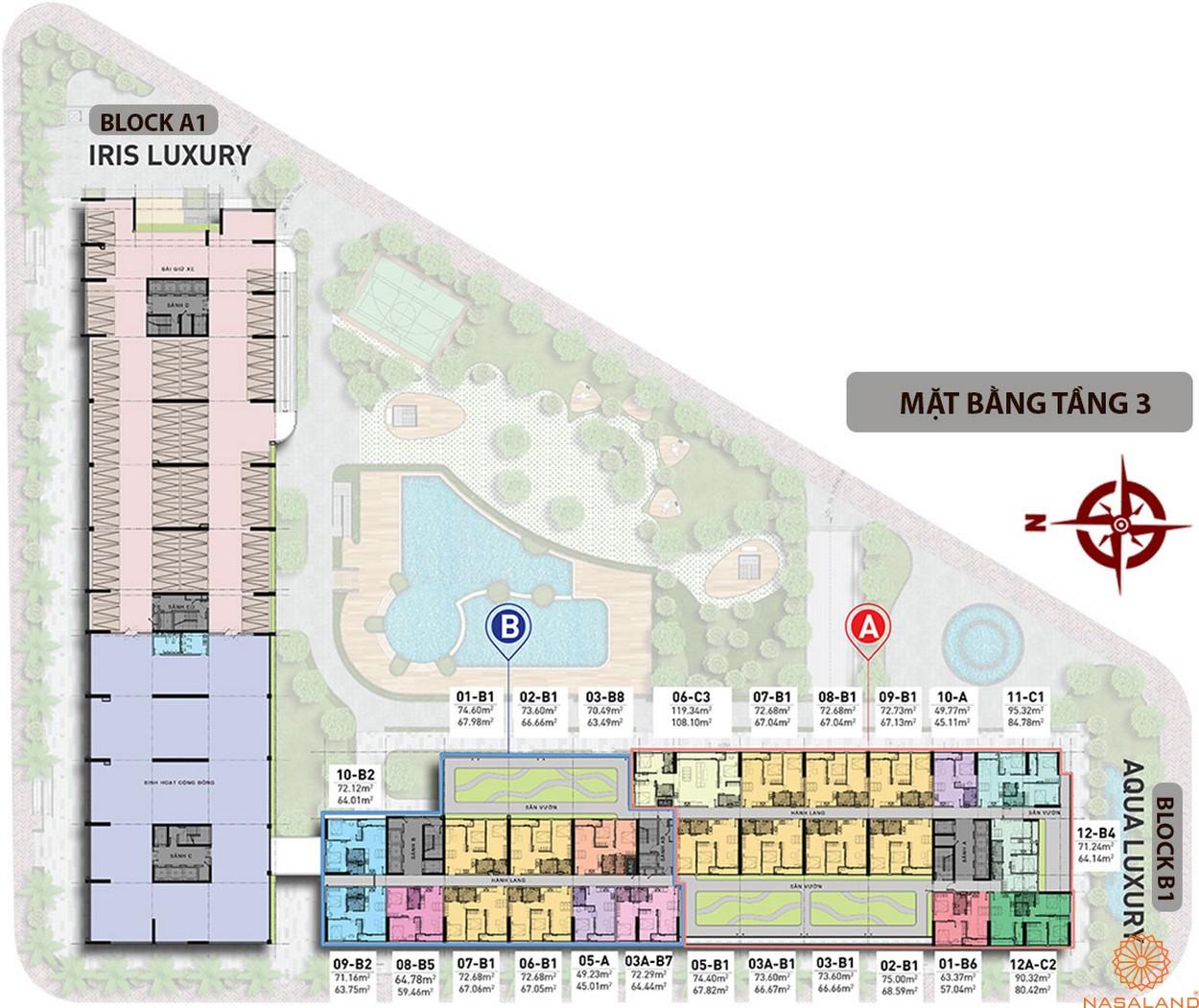 Mặt bằng chi tiết tầng 3 căn hộ Charmington Iris 2020