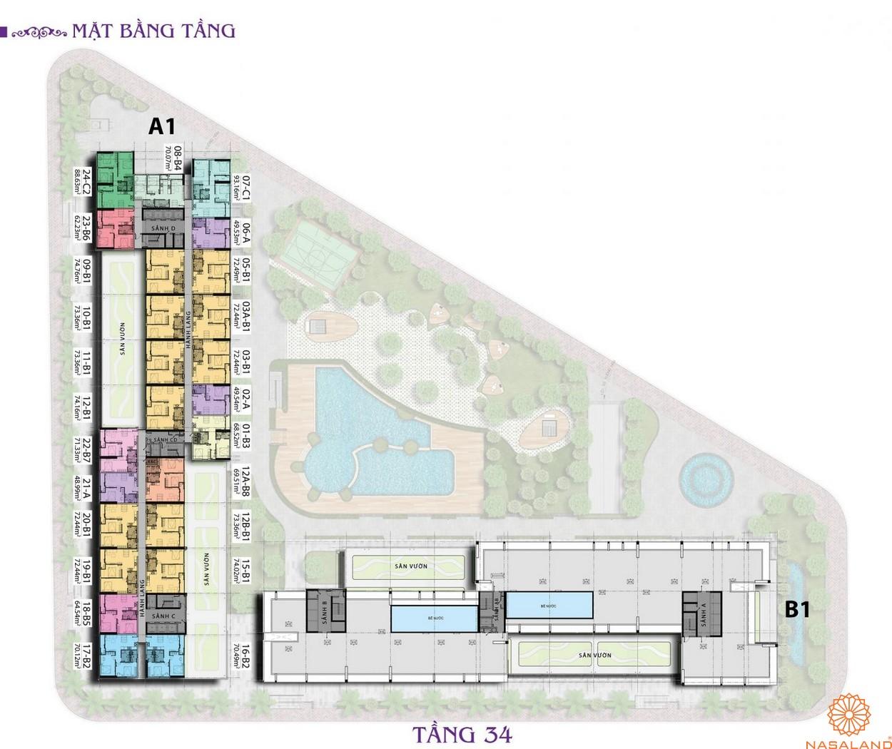 Mặt bằng chi tiết tầng 34 căn hộ Charmington Iris 2020