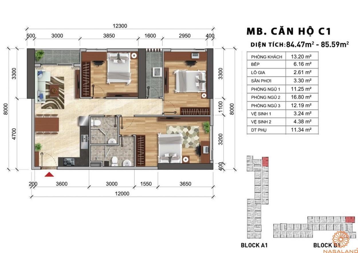 Mặt bằng chi tiết căn hộ C1 dự án Charmington Iris 2020