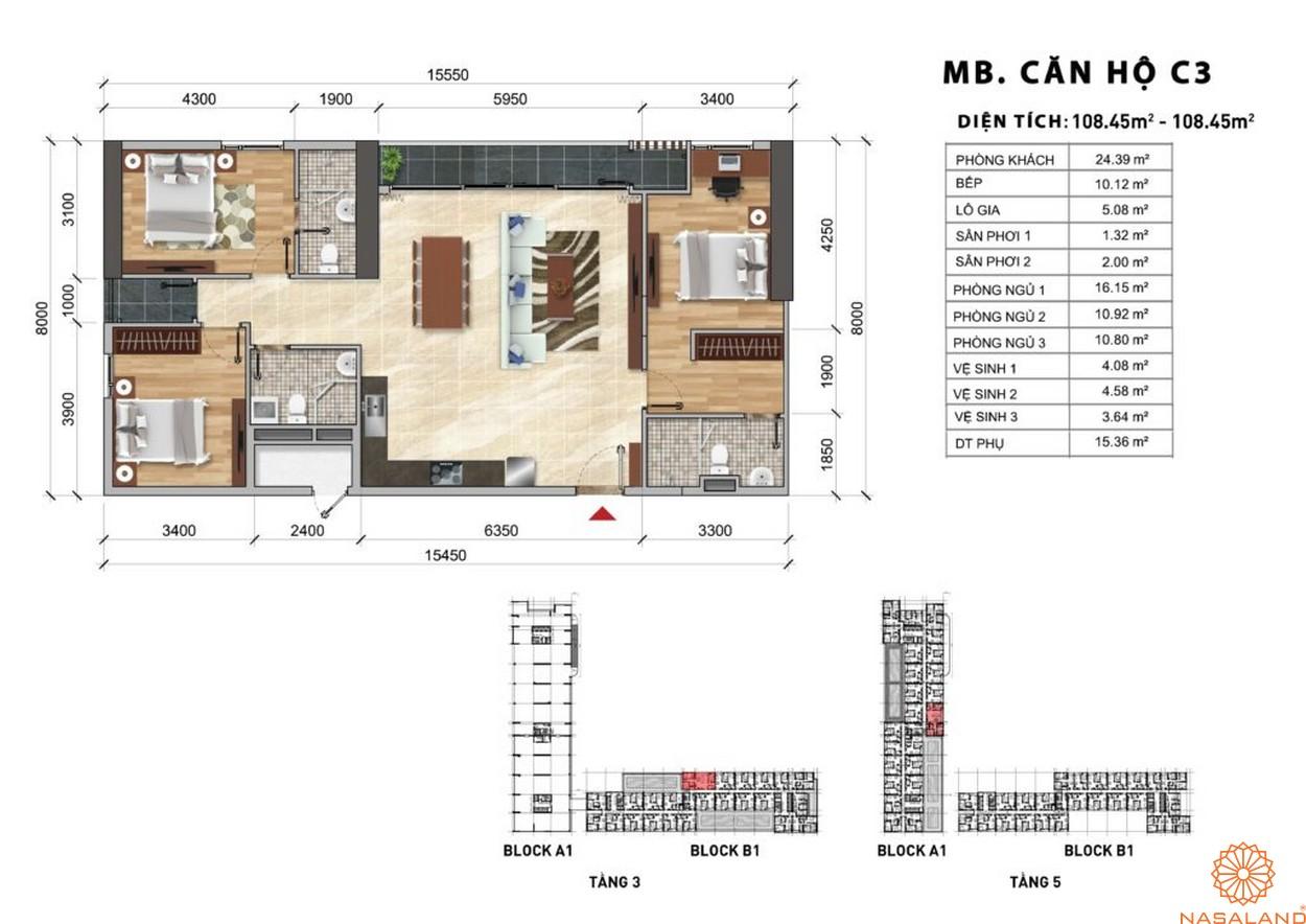 Mặt bằng chi tiết căn hộ C3 dự án Charmington Iris 2020