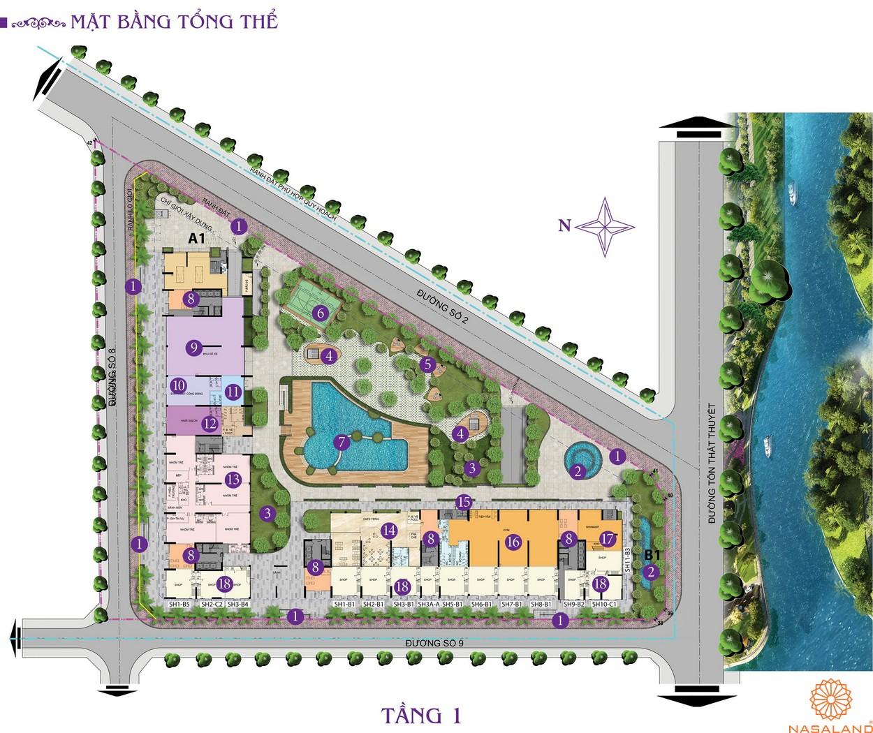 Mặt bằng chi tiết tầng 1 căn hộ Charmington Iris 2020