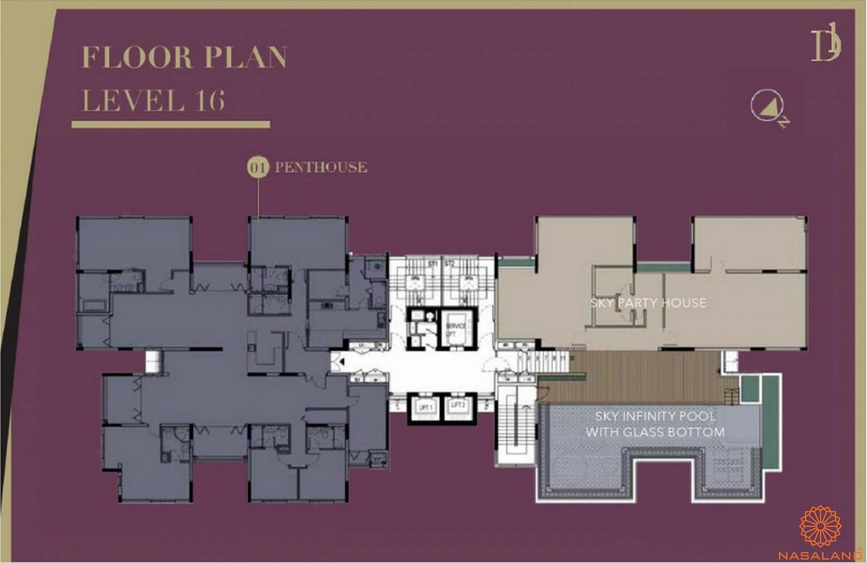 Mặt bằng chi tiết căn hộ D1 Mension tầng 16