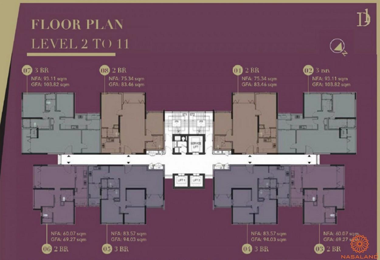 Mặt bằng chi tiết căn hộ D1 Mension từ tầng 2 đến 11