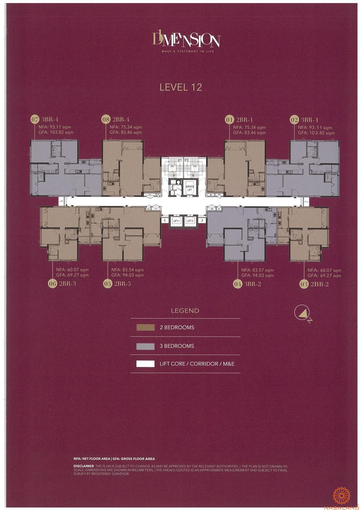 Mặt bằng chi tiết căn hộ D1 Mension tầng 12