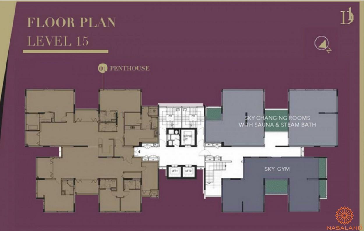 Mặt bằng chi tiết căn hộ D1 Mension tầng 15