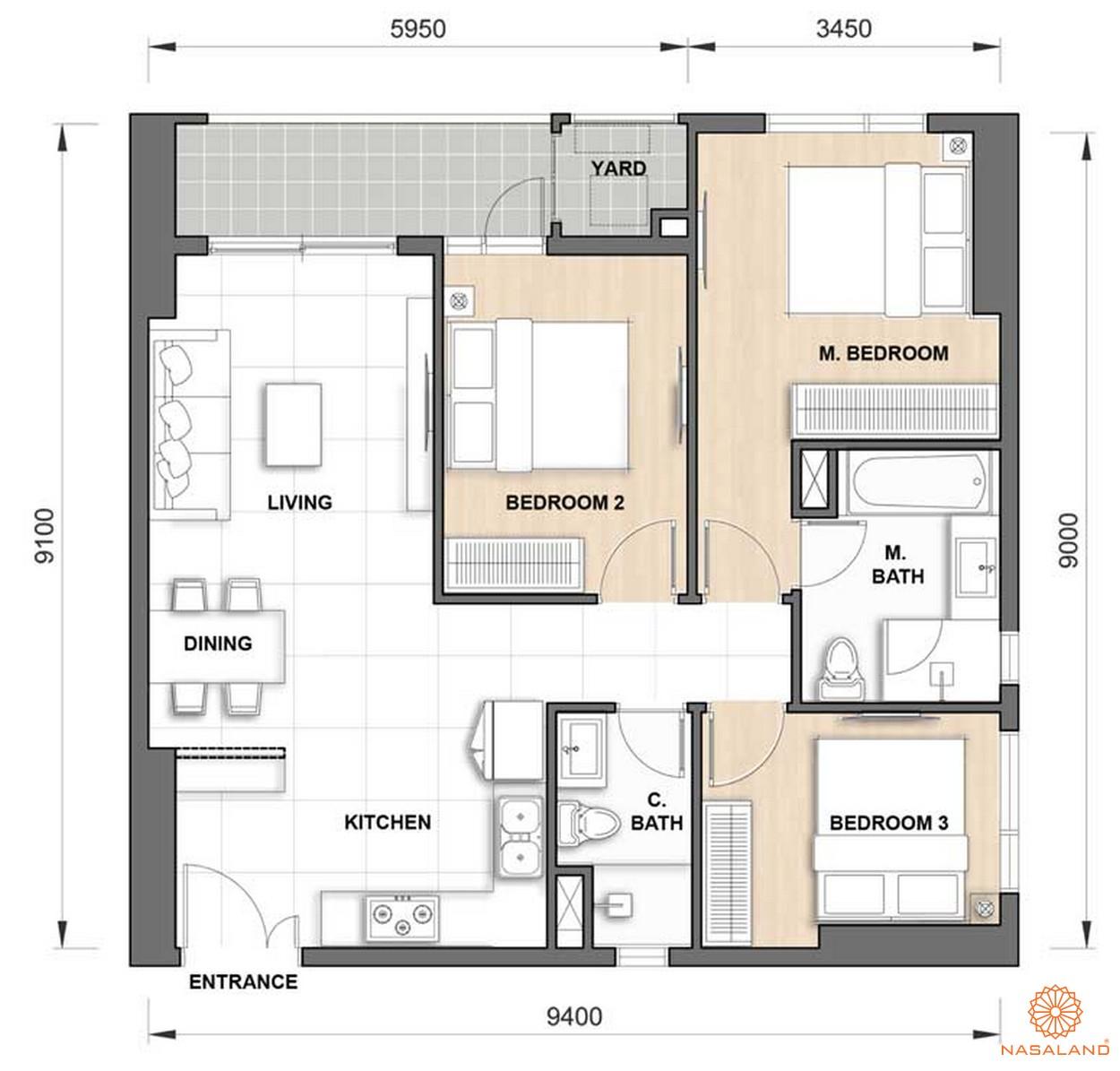 Thiết kế căn hộ The Grand Manhattan 3PN