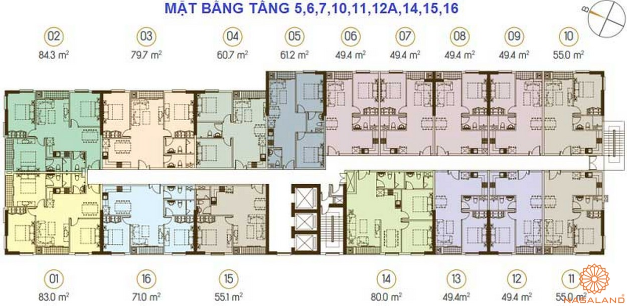 Mặt bằng căn hộ Grand Riverside từ tầng 5-16