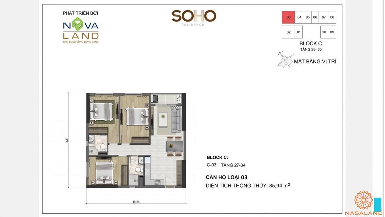 Mặt bằng điển hình dự án căn hộ Soho Residences quận 1 chủ đầu tư Novaland