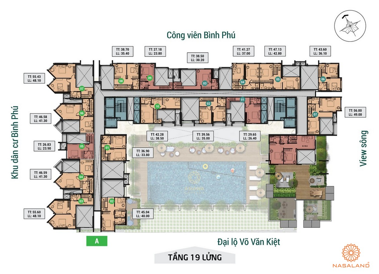 Mặt bằng dự án Asiana tầng lửng của tầng 19