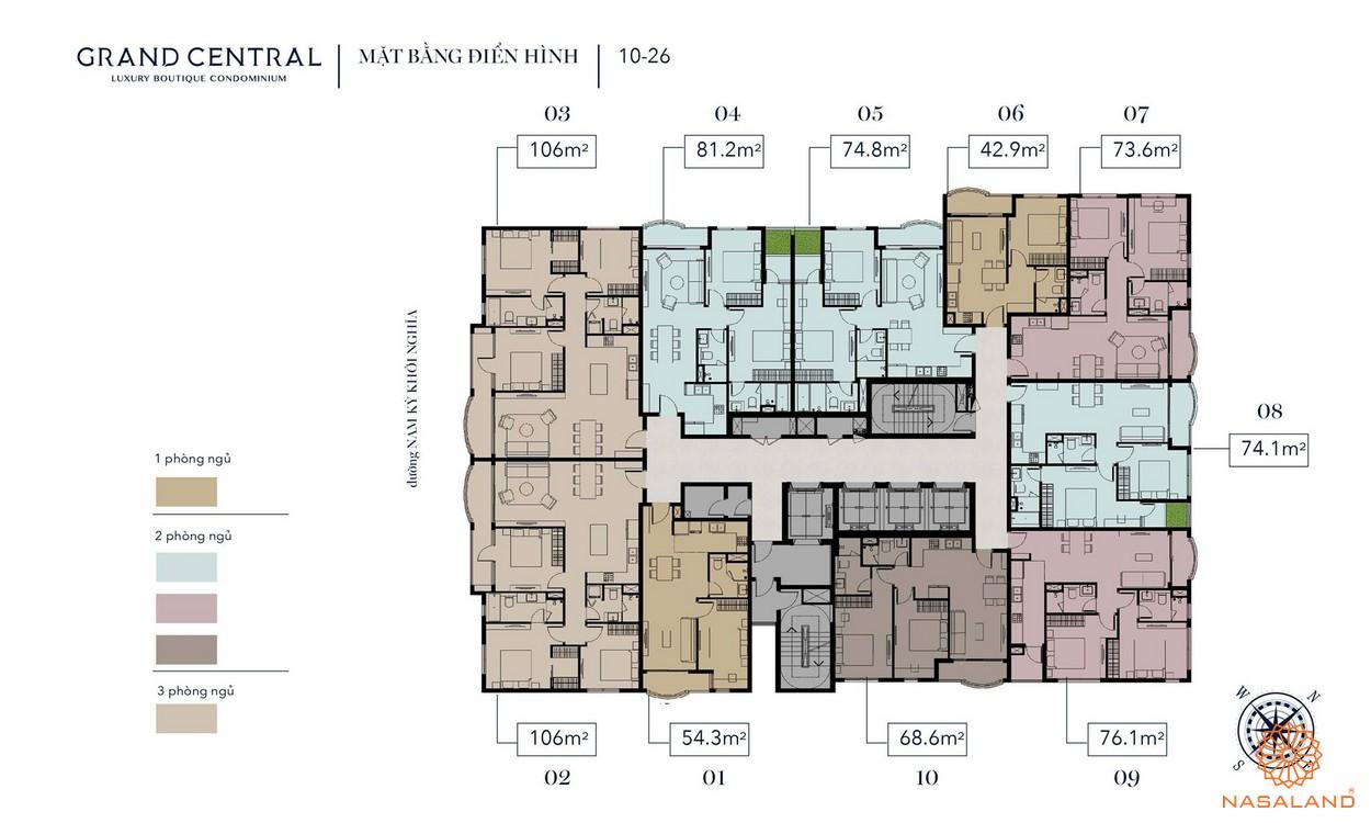 Mặt bằng dự án căn hộ Grand Central quận 3