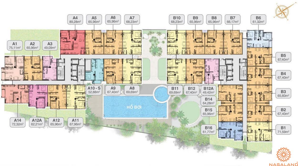 Mặt bằng dự án căn hộ chung cư cao cấp Hado Green Lane quận 8 Tp. Hồ Chí Minh